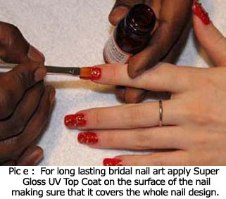 For long lasting bridal nail art apply Super Gloss UV Top Coat on the surface of the nail making sure that it covers the whole nail design.